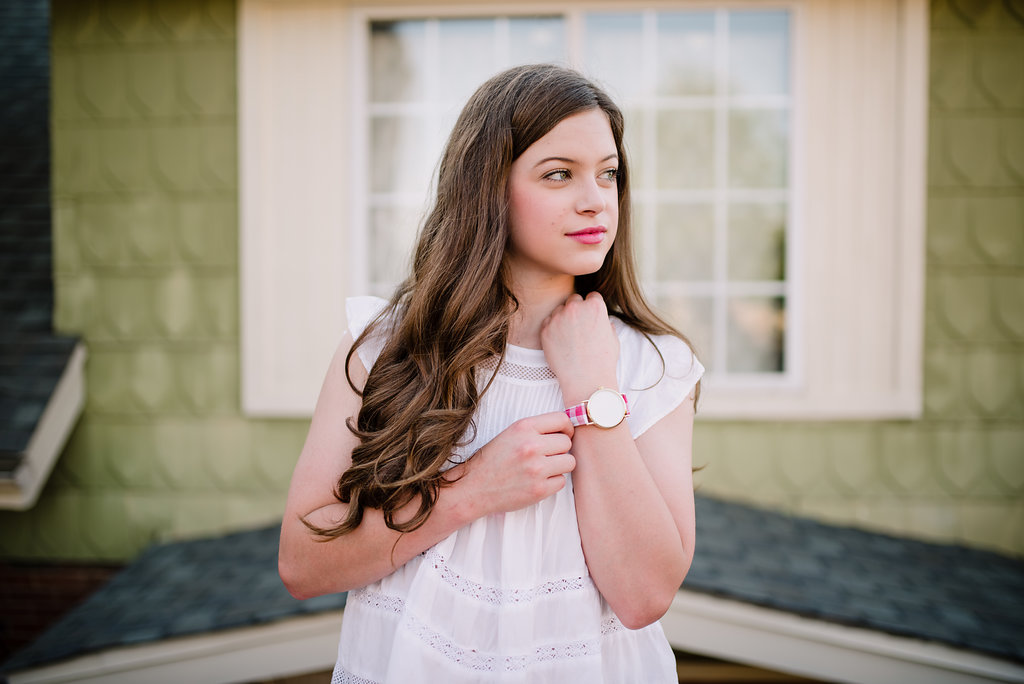 pink gingham watch white flowy blouse preppy