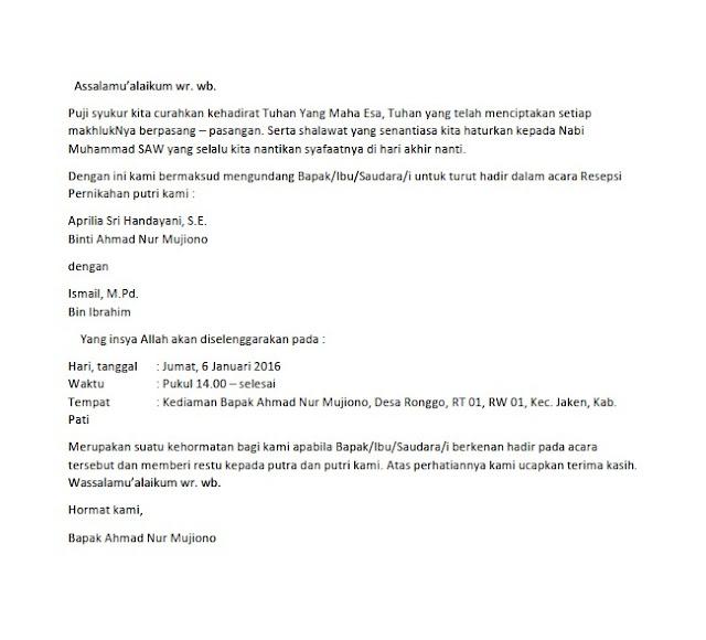 Contoh Surat Undangan Pernikahan (via: contohsurat.co)