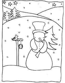 דף צביעה איש שלג וציפור