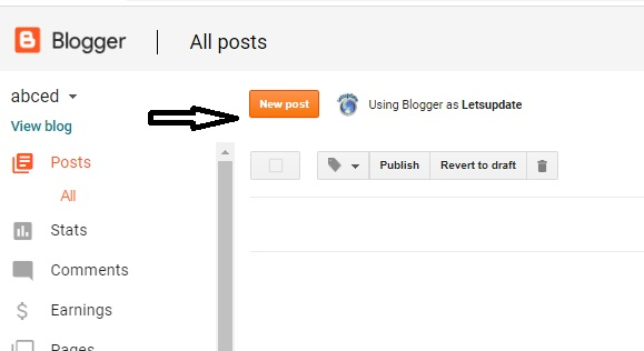 letsupdate, learn blogging-2020, for online money, new post creation in blogger