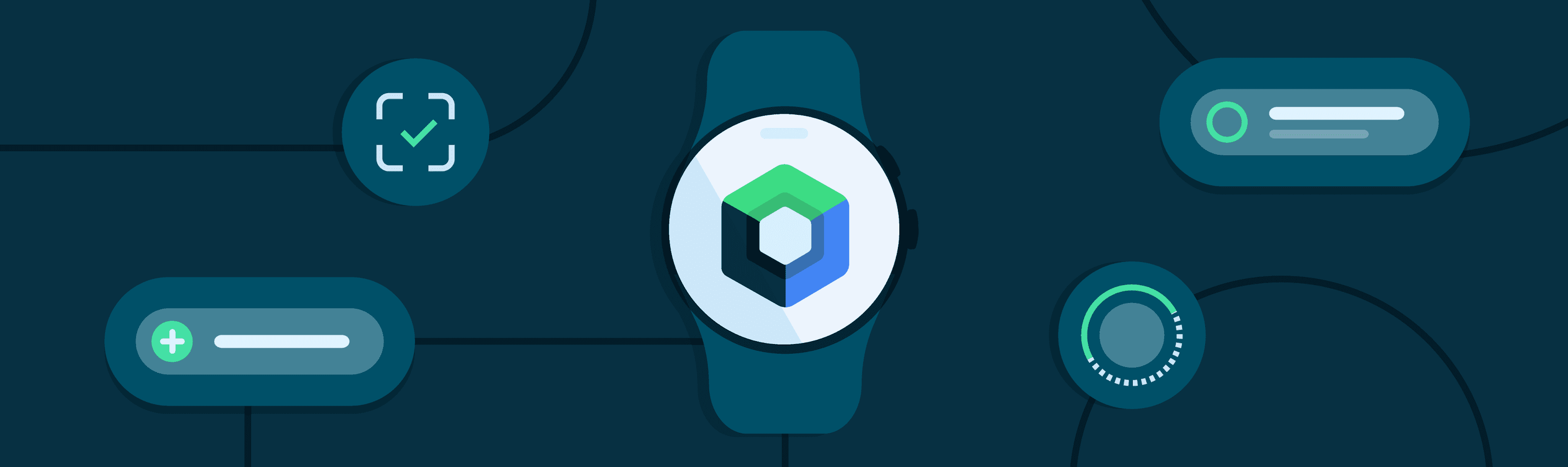 Blue background with illustration of watch