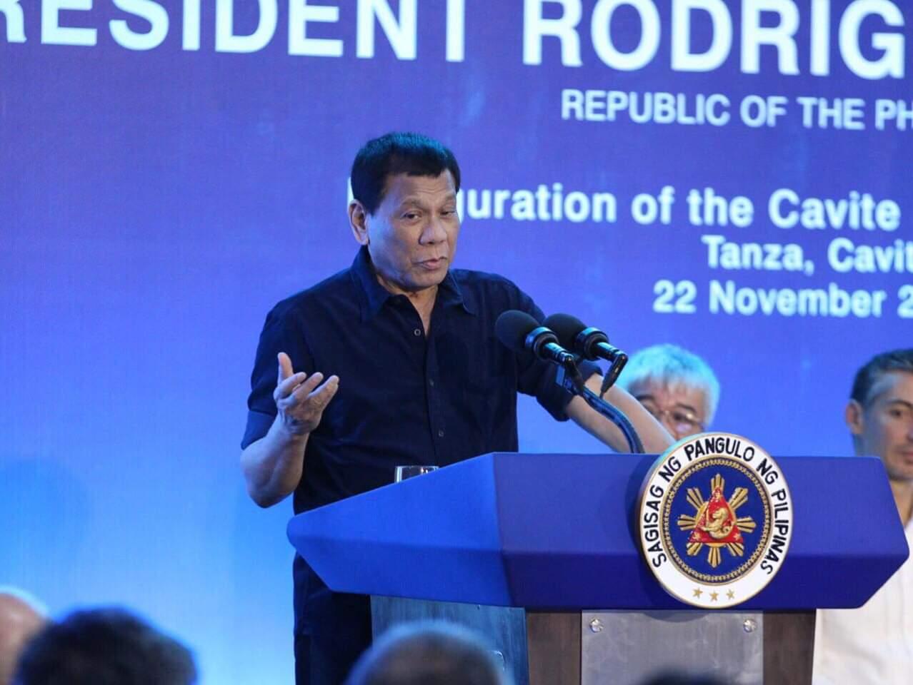 President Rodrigo Duterte speaks during the 35th anniversary of Army Reserve Command (ARESCOM)
