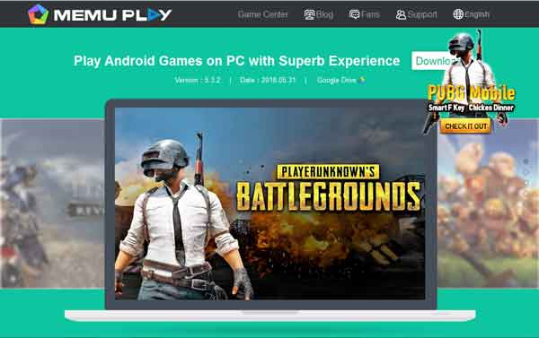 emulator game pubg mobile memu