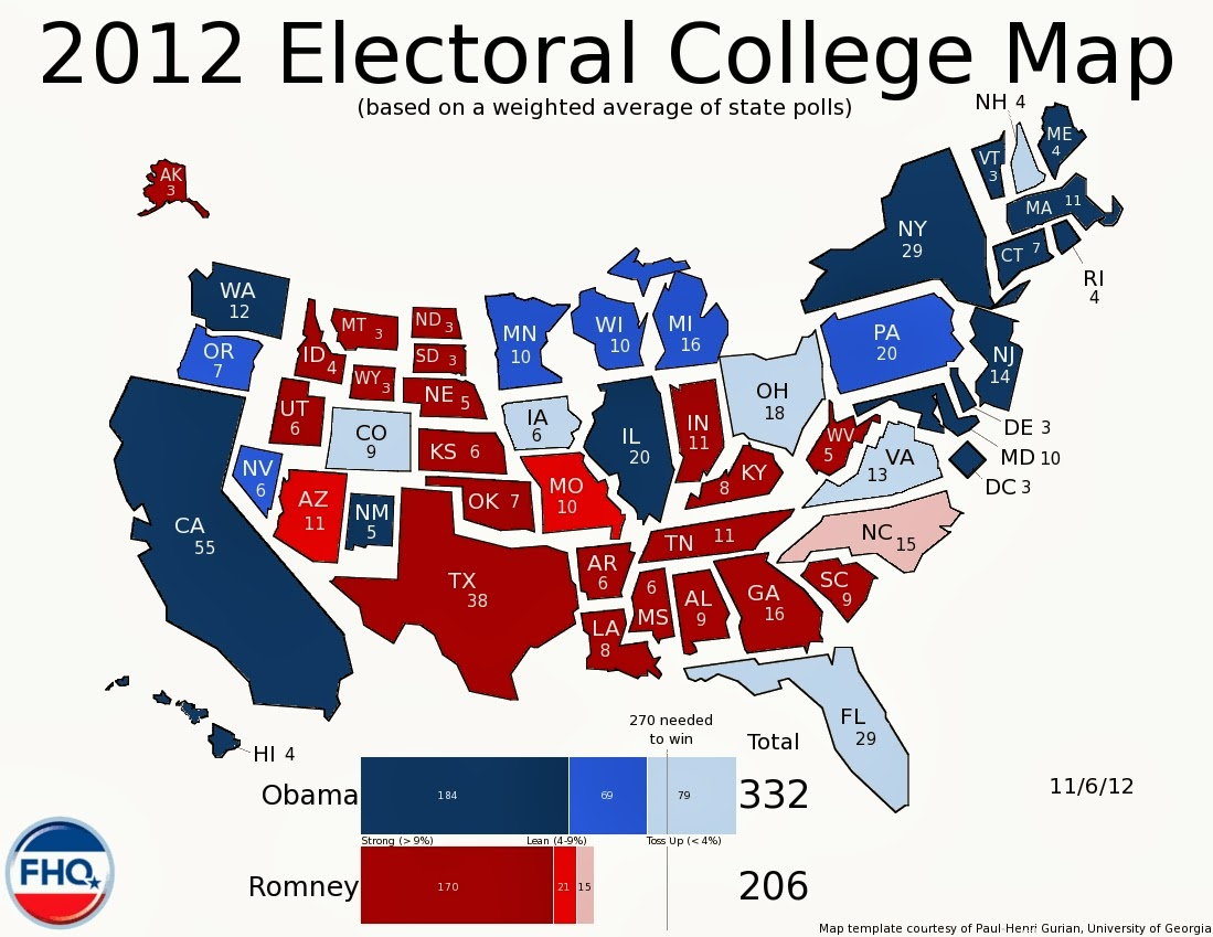 Map Of Us Electoral College.Frontloading Hq 2012 Electoral College Map