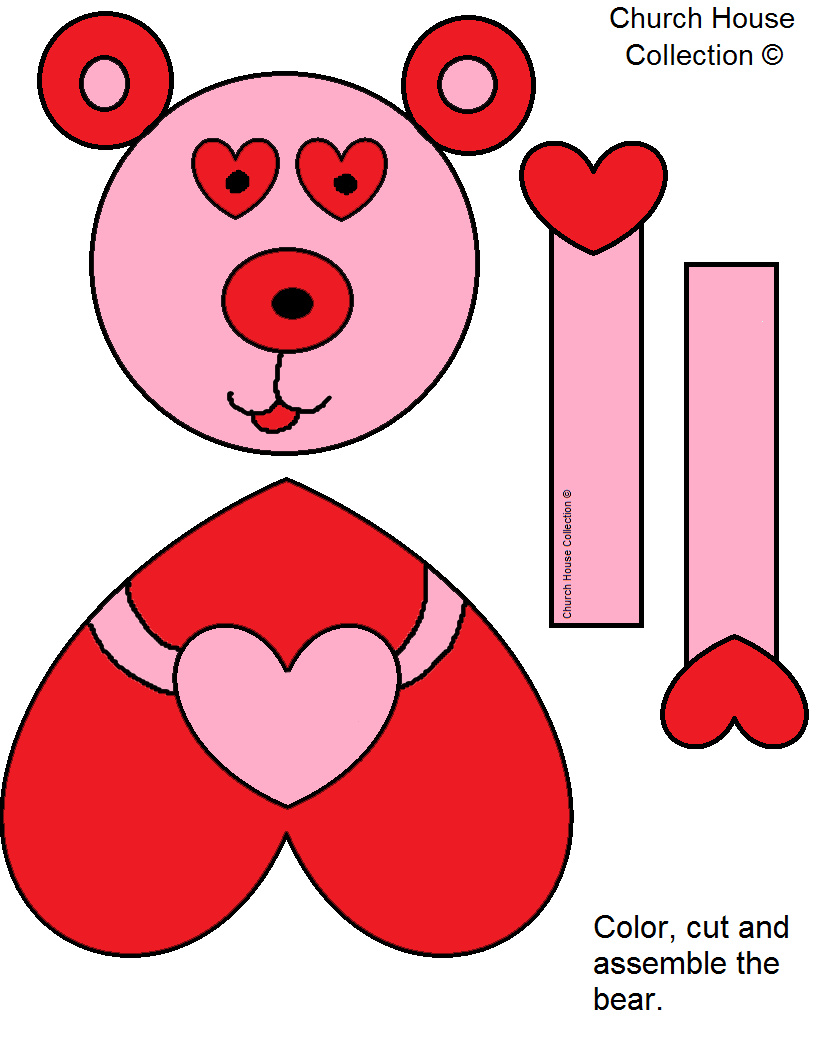 Valentine's Day Bear Cutout Craft For Kids