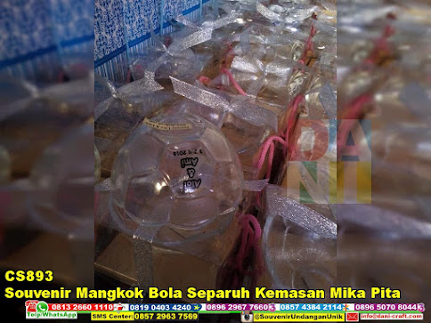 jual Souvenir Mangkok Bola Separuh Kemasan Mika Pita