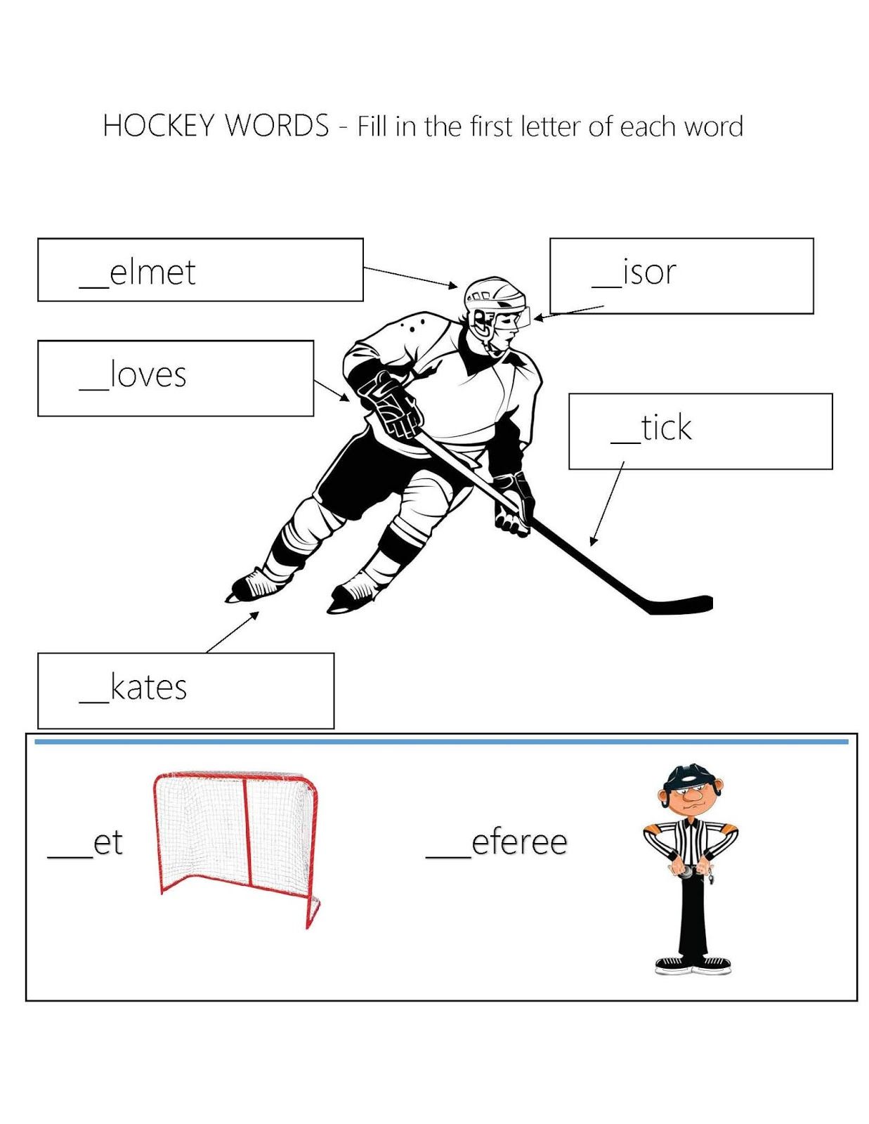 The Place Under The Pine Hockey Themed Worksheets Spelling