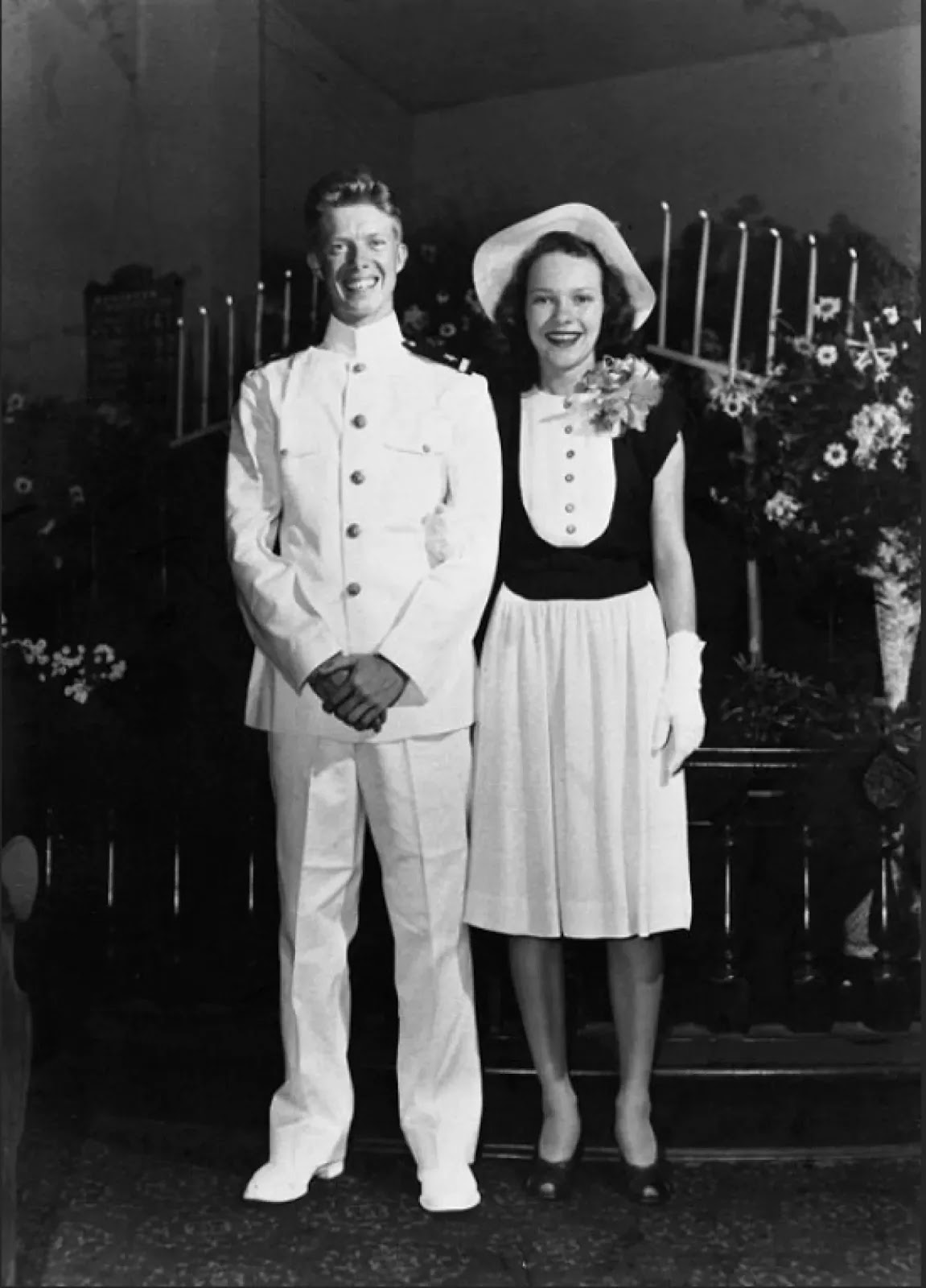 Jimmy and Rosalynn Carter on their wedding day in 1946