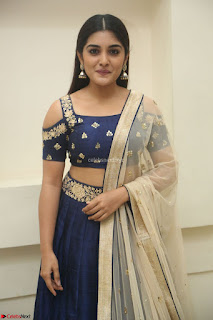 Niveda Thomas in Lovely Blue Cold Shoulder Ghagra Choli Transparent Chunni ~  Exclusive Celebrities Galleries 081