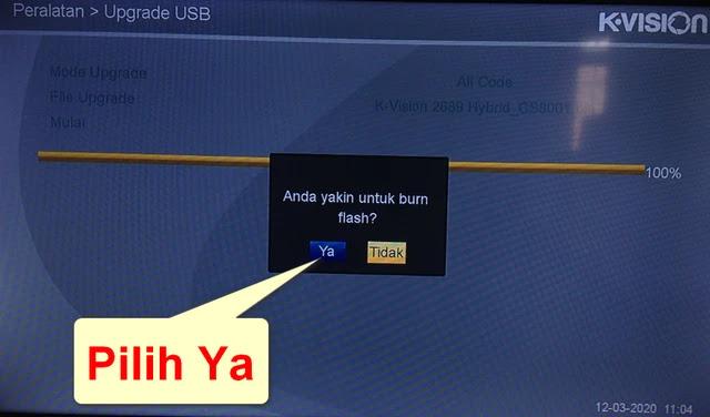 Notifikasi Burn Upgrade K Vision Bromo c2000