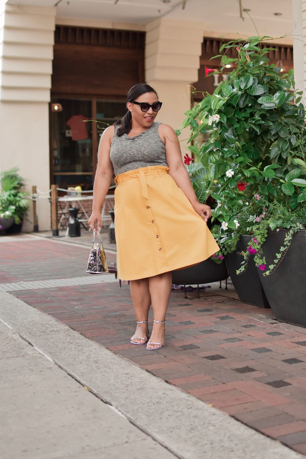 Paper bag skirt, shein, shein clothing, pattys kloset, summer outfit ideas, midi skirt