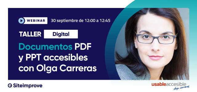Cartel del taller digital Documentos PDF y PPT accesibles con Olga Carreras