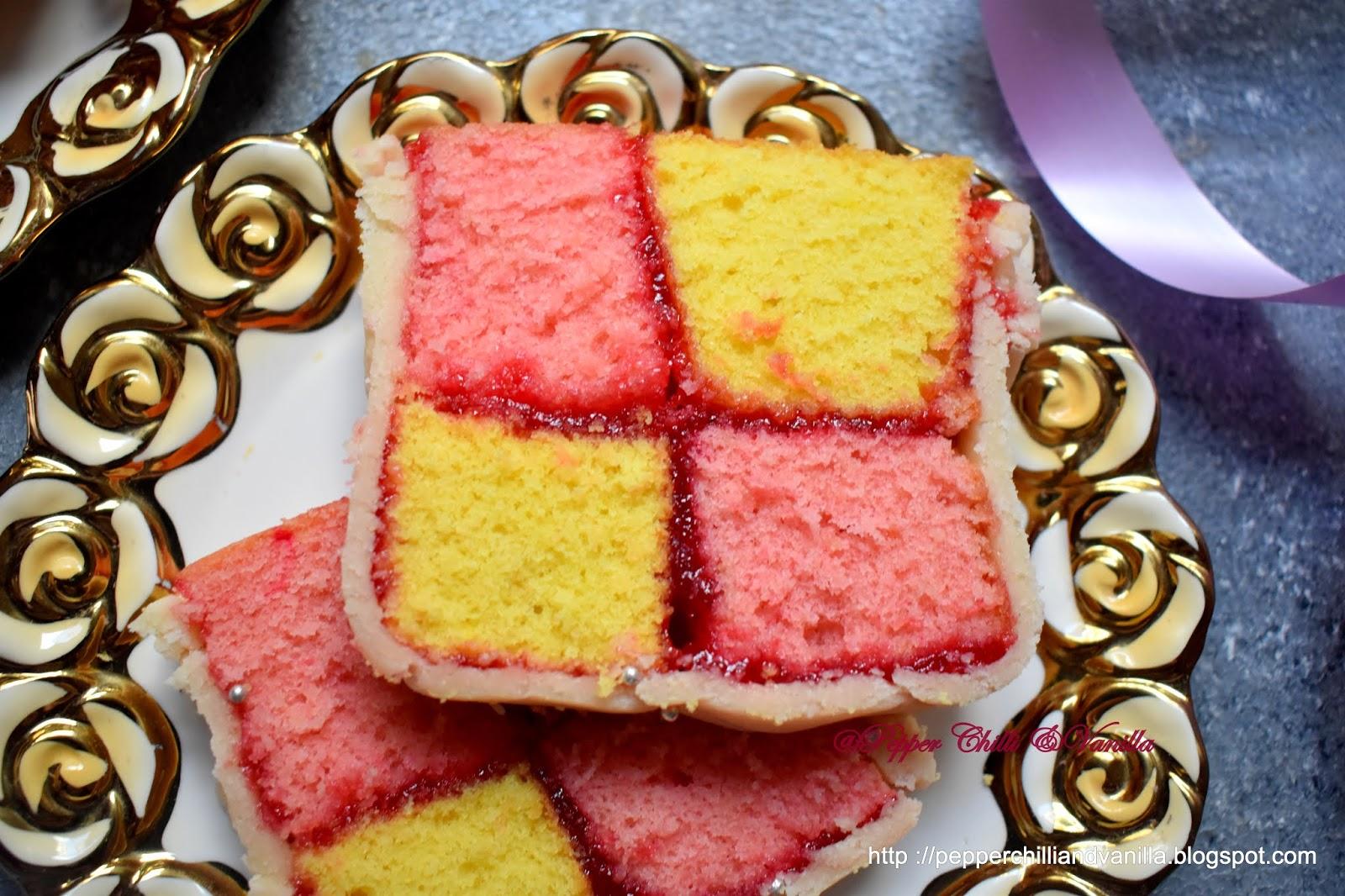 british battenberg ,chequered cake,batternberg ,battenberg sqaure