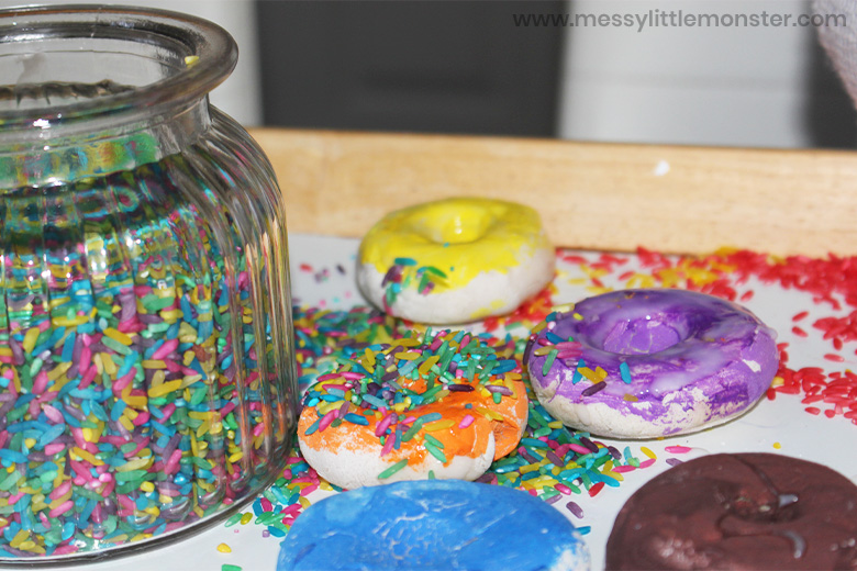 Making salt dough donuts for a pretend play bakery or donut shop
