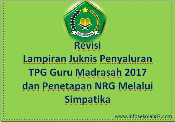 Revisi Lampiran Juknis Penyaluran TPG Guru Madrasah 2017 dan Penetapan NRG Melalui Simpatika