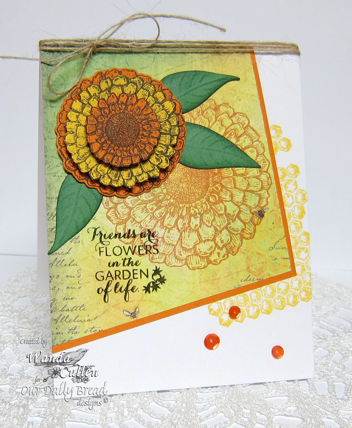 Stamps - Our Daily Bread Designs Zinnia, Honeycomb Mini Background, ODBD Custom Zinnia and Leaves Die, ODBD Blooming Garden Paper Collection