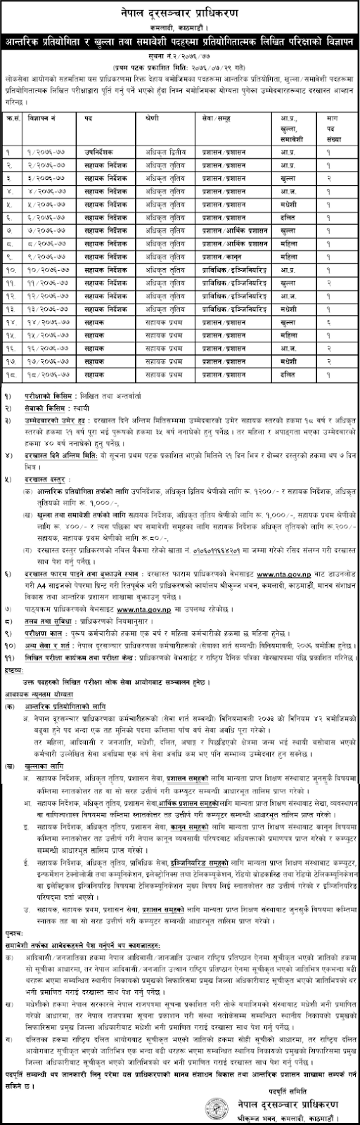 Nepal Telecommunications Authority (NTA) Vacancy Announcement