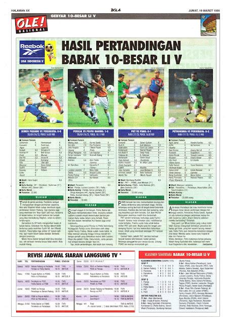 HASIL PERTANDINGAN BABAK 10 BESAR LIGA INDONESIA V