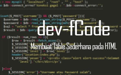 Cara Membuat Table Sederhana pada HTML