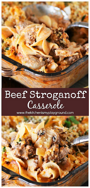 Beef Stroganoff Casserole ~ Dig in to a pan of this tasty casserole for dinner! It's also loaded with great flavor the whole family will love.  www.thekitchenismyplayground.com