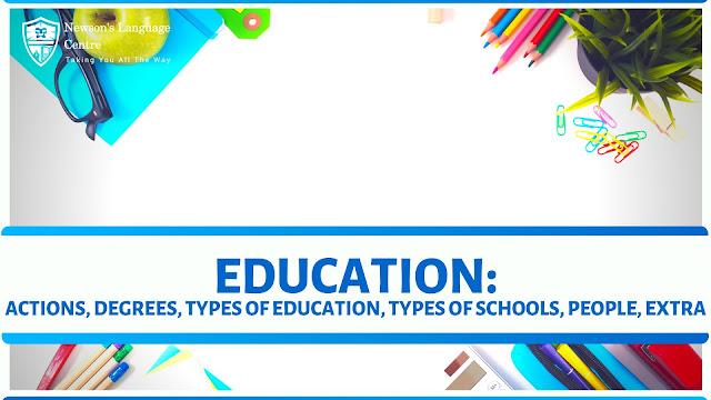 Words and phrases related to EDUCATION: actions, degrees, types of education, types of schools, people, extra.