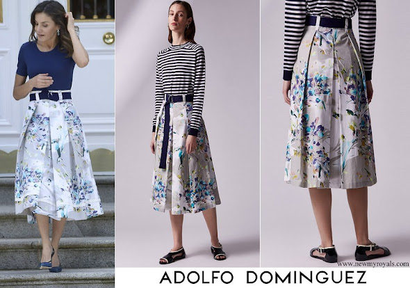 Queen Letizia wore Adolfo Dominguez floral print dress