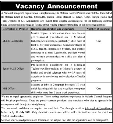 jobs.org.kpk@gamil.com - National Non-profit Organization Jobs 2021 in Pakistan
