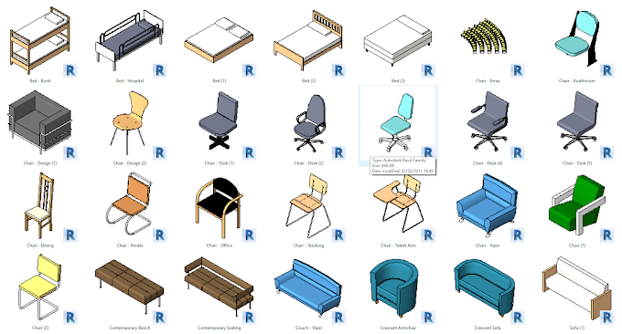 Beds, Chairs And Sofas Furniture Revit || kriyetive