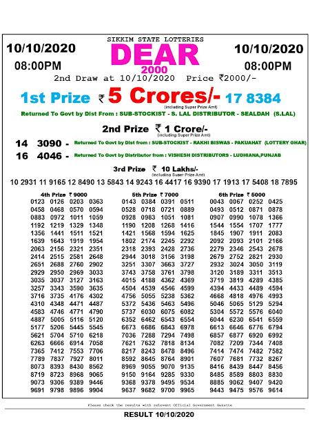 10.10.2020 Dear 2000 Lottery 8:00 pm, Lottery Sambad, Sambad Lottery, Lottery Sambad Result, Lottery Sambad Bumper Result, Sikkim