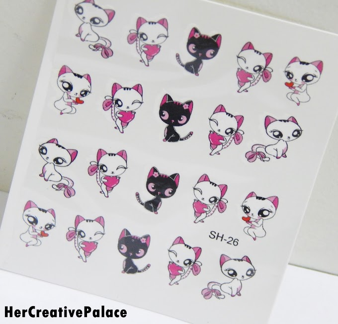 Born Pretty Store Cute Cat Romantic Love Pattern Water Decals: Review, NOTD