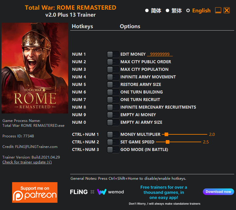 Total War: Rome Remastered: Trainer (+13) [2.0]