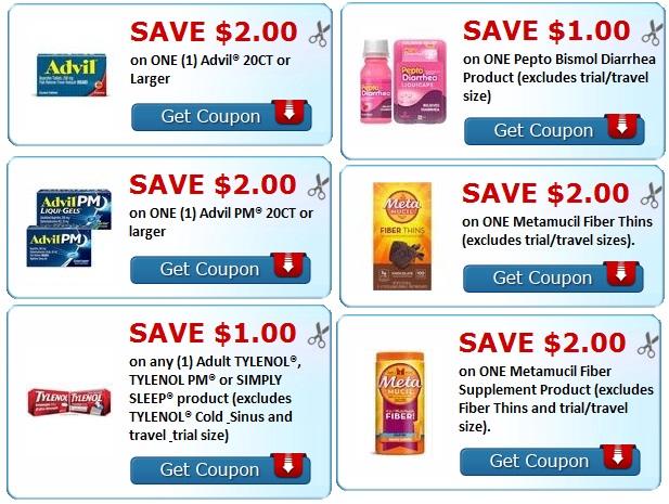 print advil, tyenol, metamucil, pepto bismol coupons.