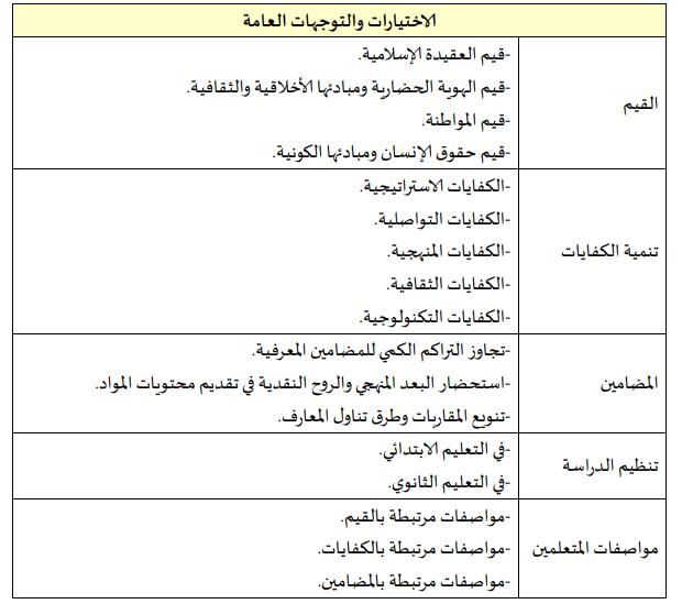 جدول: الاختيارات والتوجهات التربوية العامة