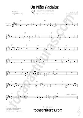 Trompeta y Fliscorno Partitura de Un Niño Andaluz Sheet Music for Trumpet and Flugelhorn Music Scores