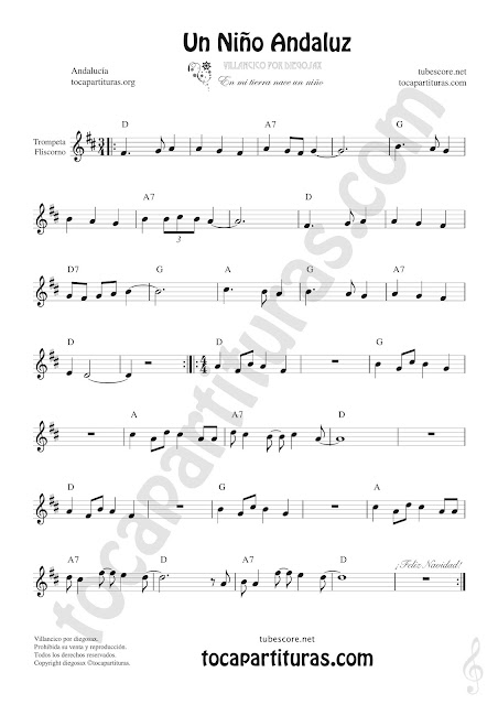 Un Niño Andaluz Sheet Music for Trumpet and Flugelhorn Music Scores