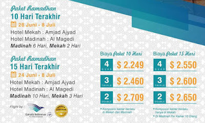 Harga Paket Umroh Ramadhan 2016