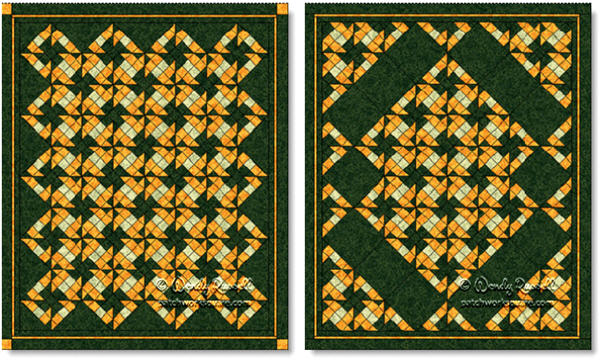 Quilts designed using the Z CROSS quilt block - images © Wendy Russell