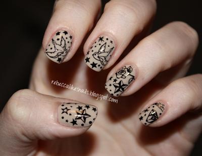 rebecca likes nails old school tattoo mani. Black Bedroom Furniture Sets. Home Design Ideas