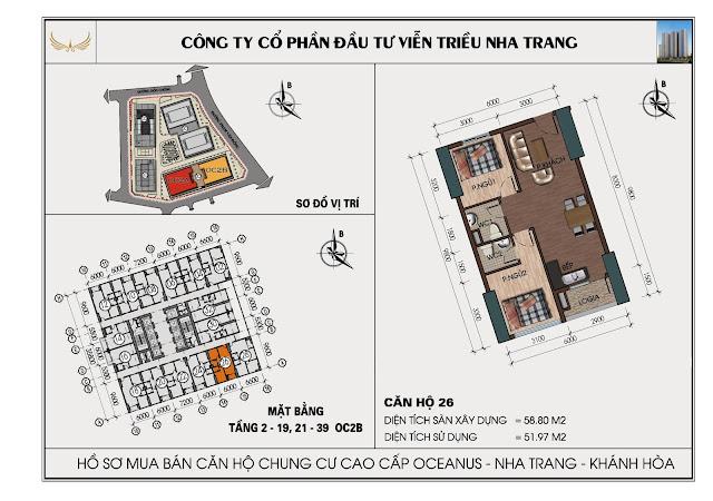 Sơ đồ căn hộ số 26 tòa OC2BViễn Triều Nha Trang