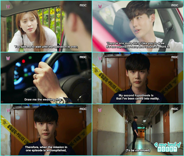 police find kang chul will, yeon joo draw the wedding ring for kang chul an he came back to the real world - W - Episode 12 Review
