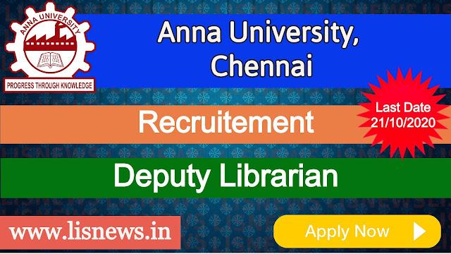 Deputy Librarian at Anna University, Chennai
