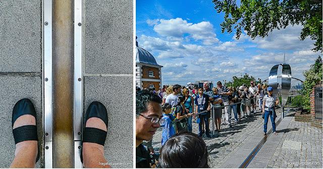 Linha do Meridiano de Greenwich e o pátio do Observatório Real