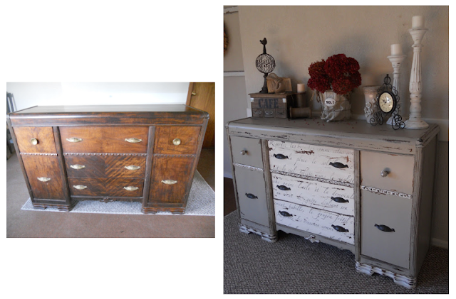 Stenciled drawers on a chippy french vintage buffet by Create Inspired featured on Funky Junk Interiors