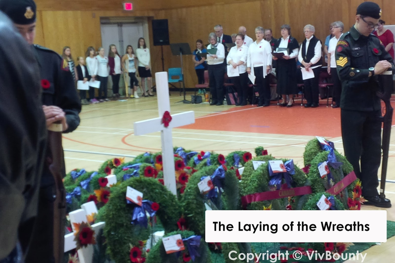 Laying of the wreaths. Remembrance Day 2015, Port Elgin Regional School, NB, VivBounty
