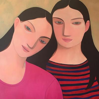 Kelly Beeman arte | dibujo en acuarela de mujeres | retrato hermanas
