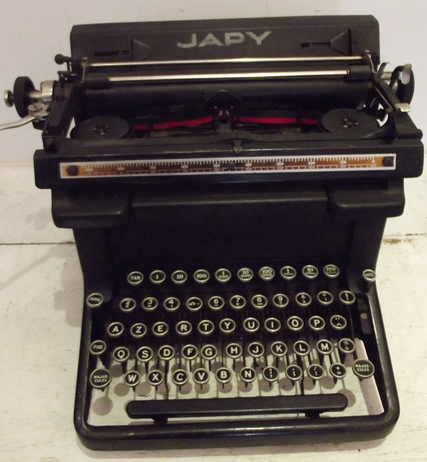 ancienne machine crire japy ann es 1930 typewriter vintage avec. Black Bedroom Furniture Sets. Home Design Ideas