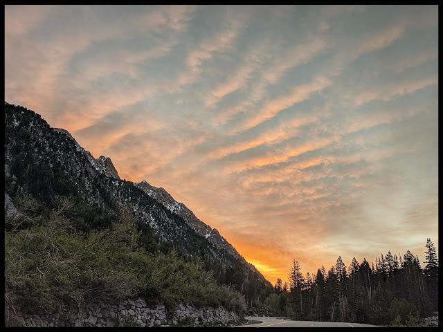 Sunrise on drive to Gloria Falls Little Cottonwood Canyon Utah