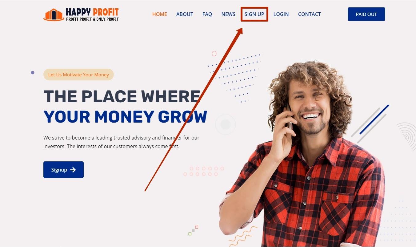 Регистрация в Happy Profit