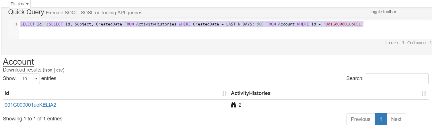 How to get activity history of a object using SOQL in