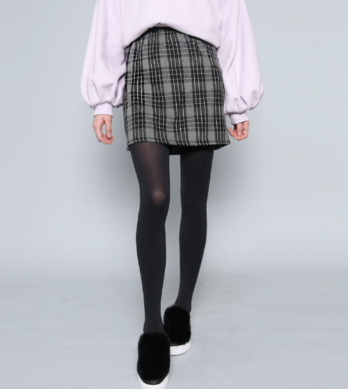 Plaid Check A-Line Skirt